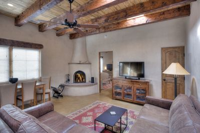 There's nothing cozier than a kiva fireplace crackling with fragrant pinon!