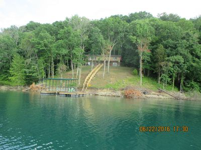 View Of Your Lakefront Vacation Home and Dock From The Lake
