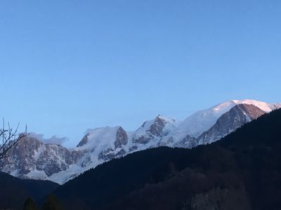Photo for Facing the Mont Blanc Private Apartment for 2 in chalet with terrace