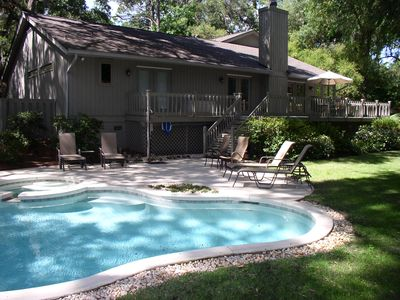 Photo for Sea Pines w/ Private Pool and Spa, Beach Parking, 7 Day Low Occupancy Discounts