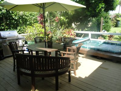 Back Lanai with 8 person hot tub, Webber grill and outdoor seating