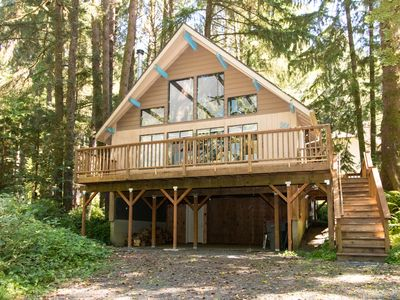 Photo for Quiet home in the woods w/ private deck - walk to the beach & Haystack Rock!