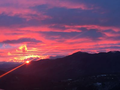 One example of the amazing sunrise view of Grandfather Mountain from the balcony