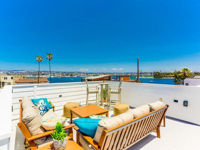 Photo for LUXURY Private Family Beach Home, Rooftop Water Views, & AC!
