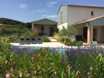 Photo for Rustic-chic house with large private heated pool and lovely views over a village