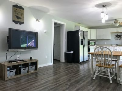 Television and view into kitchen