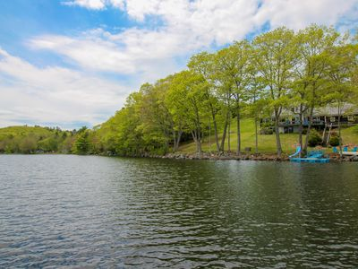 Photo for Lakefront home w/ incredible views, a private dock, deck & water slide!