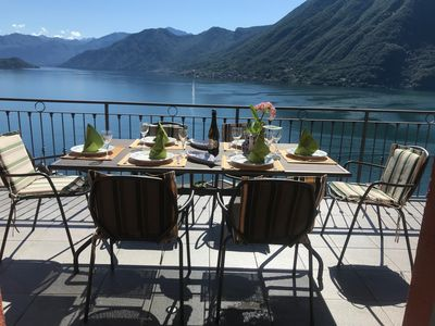 Photo for Villa Panoramica 180 degree views of Lake Como from the wrap around terrace