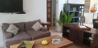Photo for Beautiful quiet beach house, equipped, AC, 1 bedroom, garden, 200 mt from beach