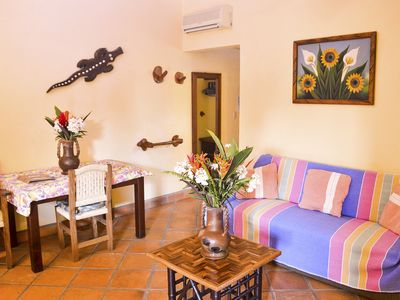 Photo for Large 2-bedroom apartment, chlorine-free pool, gardens, 1 minute from beach