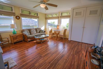 Newly remodeled floors and we added a view window for the dining area.