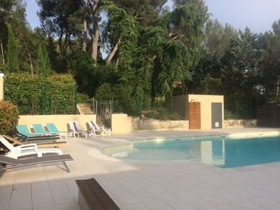Photo for Air-conditioned charming apartment with a private garden and a magnificent swimming pool