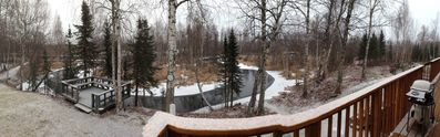 Meadows Creek next to property with observation deck. Late Fall and first snow!