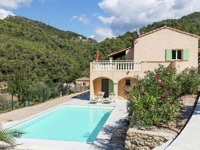 Photo for Villa with beautiful views and swimming pool in La Roquette-sur-Var (1 km)