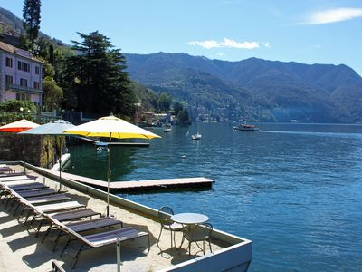 Lake Como Beach Resort Private Sand Lido and Boat Dock Jetty.