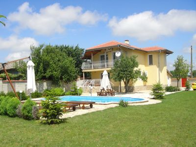 Photo for Luxury 3 bed villa (sleeps 6-8), own pool, a/c, garden, village location, by sea
