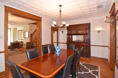 Dining Room seats 8 and features historic built-in buffet.