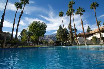 Large heated pool with beautiful view of Mt. San Jacinto. We have included pool towels to enhance your experience.