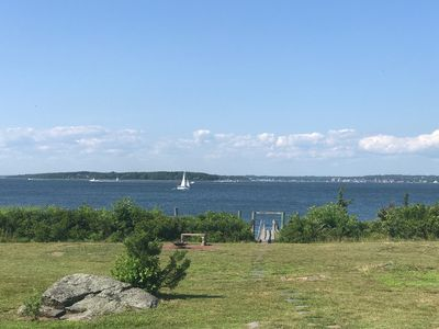 Photo for Classic waterfront cottage on Prudence Island, private beach, dock & mooring