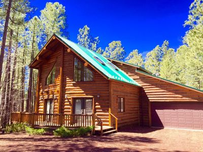 Photo for Log Cabin Luxury Retreat with Hot Tub for Romantic Escape or Family Get-Away