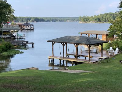 Photo for Charming Lakefront Cottage with Large Decks and Dock, and Boat Ramp