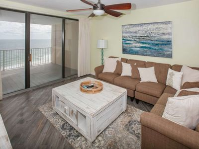 Photo for 11th floor Gulf-front | In/Outdoor/Kiddie Pools, Hot Tub, Fitness, Sauna, WIFI | Free golf, fishing