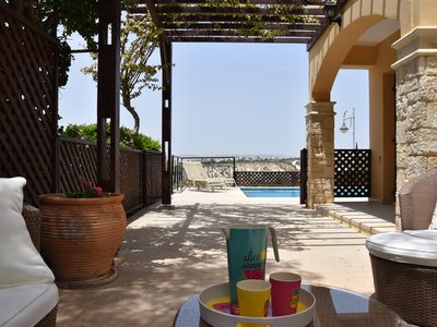 Photo for Three bedrooms apartment with private pool and view on the mediterranean