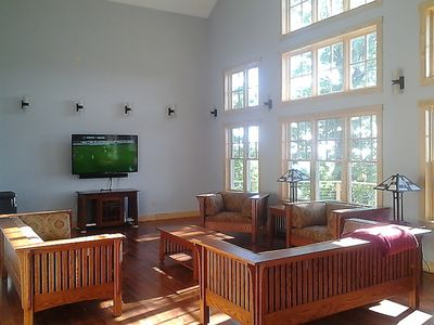 "Living Room with 60"" HD TV, DirecTV, Wii, Pandora"