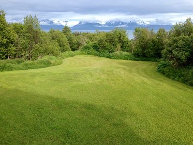 Lawn with view of Bay and glacier