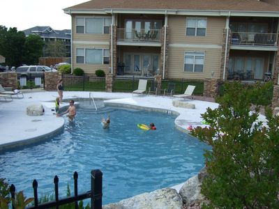 Zero entry pool very close to patio.   Keep an eye on the kids from the condo.