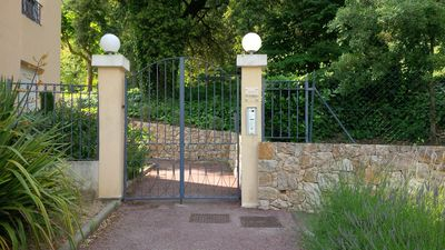 Gated entrance to private apartments
