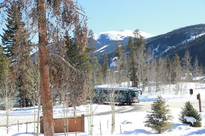 Great view of mountain and ski slopes from the den window, on the ski bus route