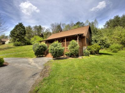 Photo for Porch w/ swing & hot tub, sounds of stream, fireplace, pet & family friendly!