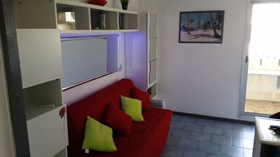 Photo for Studio, pool, air conditioning, parking, equipped 4 people, DRC, TERRACE FULL SOUTH