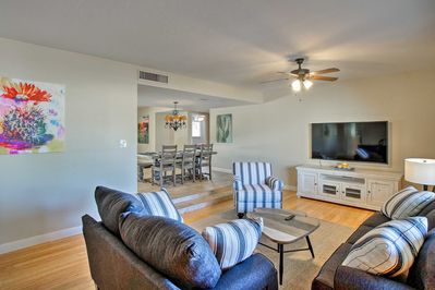 The 4-bed, 2-bath vacation rental can accommodate a family or friend group of 8.