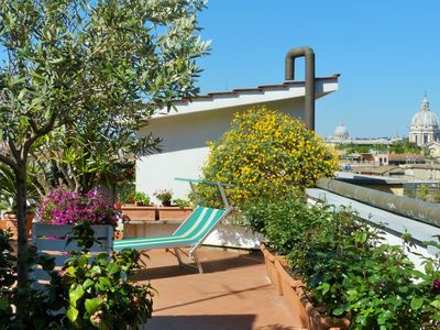 Photo for Panoramic roofterrace - Rome by feet - Free Wifi /AC-  for 2-5 people