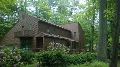Exterior of home in wooded setting