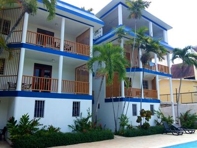 Photo for Budget studio in central Sosua, guest-friendly, TV/internet, safe, big pool
