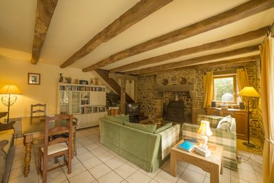 Les Moulins. The large, comfortable living and dining area.