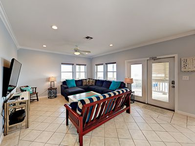 Living Room - Welcome to Port Aransas! This duplex is professionally managed by TurnKey Vacation Rentals.