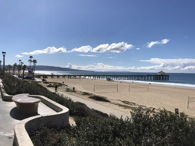 "View of the Manhattan Beach Pier from ""The Strand"" on a typical sunny day."