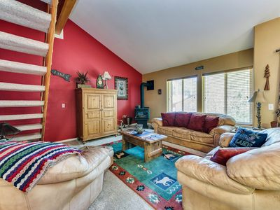 Photo for Comfortable condo w/ wood stove, a perfect location & shared pools/hot tub/gym!