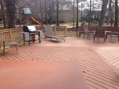 Party Deck with hot tub and grill.