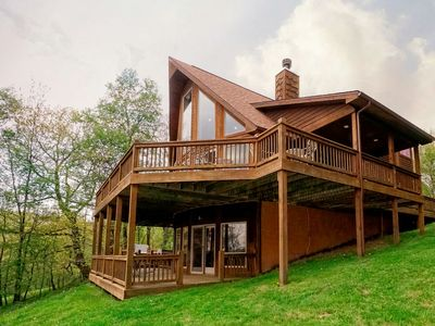 Photo for Dog friendly log chalet w/ end of road privacy, hot tub and fire pit!