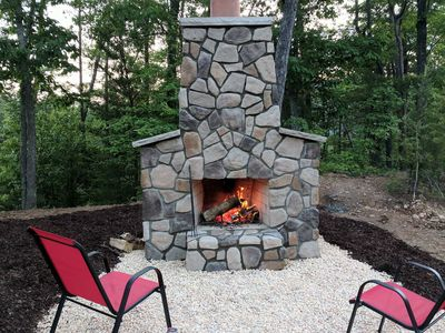 Relax and enjoy the outside fireplace...