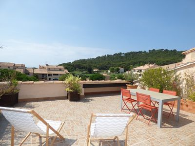 Photo for 2 rooms with Big terrace of 25m ² in 350M of the Beach