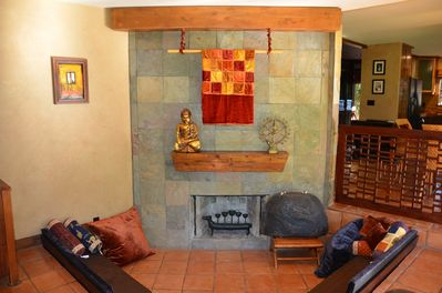 Fireplace lounge with Bali decor, my photo taken in the morning light