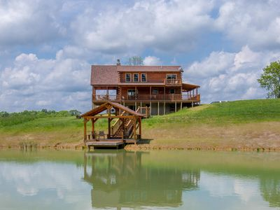 Photo for Gorgeous 4 bedroom lodge with stunning views and private pond with dock