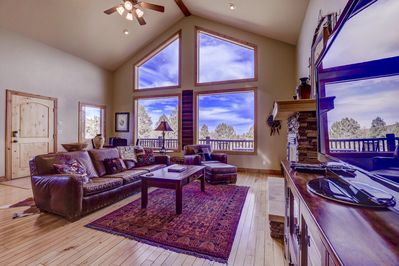 Two story tall windows in Living room