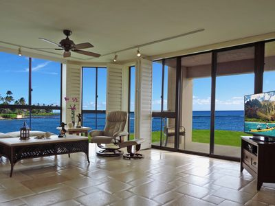 Photo for BEST Oceanfront - Ground Floor Corner Unit - Ocean 20' from Lanai - NEW A/C,